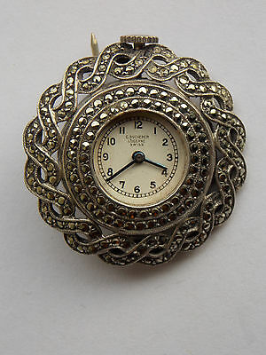C Bucherer Lucerne Swiss Watch Brooch. Silver and Marcasite 15 Jewel. For Repair