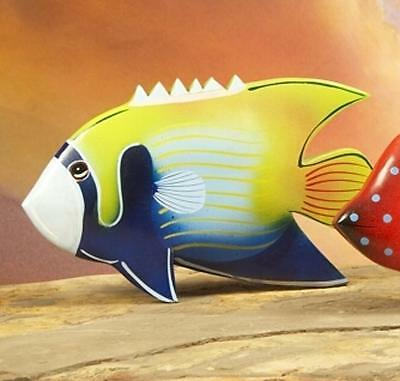 Colorful Hand Carved Wooden Fish Hand Painted Decorative Sculpture #1897 Green