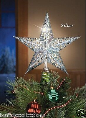 """12"""" Lighted Iron Silver Star Christmas Tree Topper Decoration"""