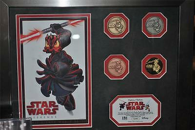 Disney Star Wars Weekends 2012 Darth Duck 4 coin set with photo and frame