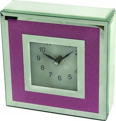 15CM Pink / Purple Square Crystal Mirror Table Clock - 4033