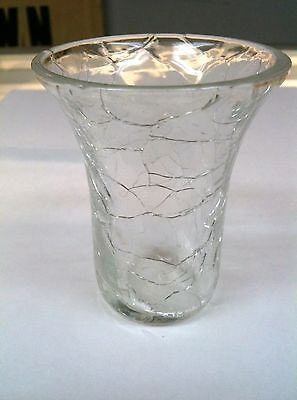 VINTAGE CRACKLE CLEAR GLAS HAT/ TOOTHPICK HOLDER