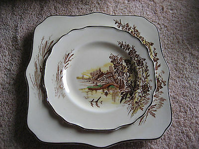 Square Luncheon and Bread Plates Myott Sons & Co. Meadowsweet Yellow / brown trm