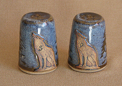 potterybydave - Salt and Pepper Set - Pine Trees with Wolf label