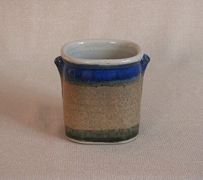 potterybydave - Pencil or Sm Utensil Holder - Gold and Blue  - Square