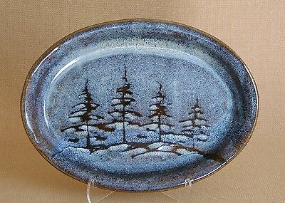 potterybydave - Small Serving Platter - Oval - Blue with Pine Trees Design