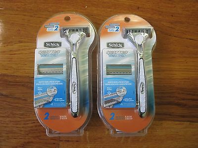 TWO PACKS OF (SCHICK)(QUATTRO TITANIUM)ONE RAZOR AND TWO CARTRIDGES OF EACH