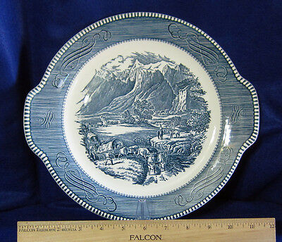 "Currier and Ives Blue ""The Rocky Mountains"" Platter Cake Plate By Royal Made USA"