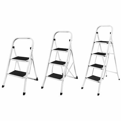 2 3 4 Step Ladder Safety Non Slip Mat Tread Foldable Kitchen By Home Discount