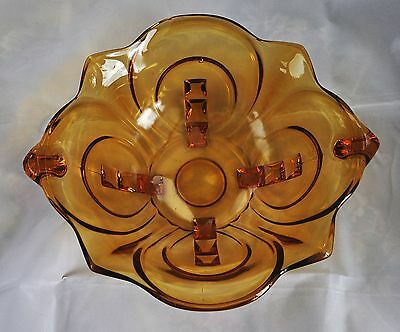 Vintage Art Deco Style Amber Pressed Glass Bowl; Walther, Design Irene No 22005