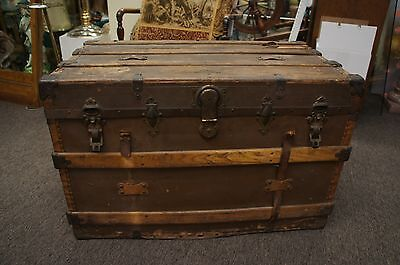 Antique Henry Likly Flat Top Leather Strap Wooden Slat Steamer Trunk Chest +Till