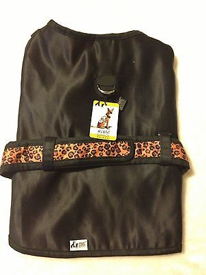 Adorable Black Dog Harness - Orange Leopard Belt - Large - Avant Garde - NWT
