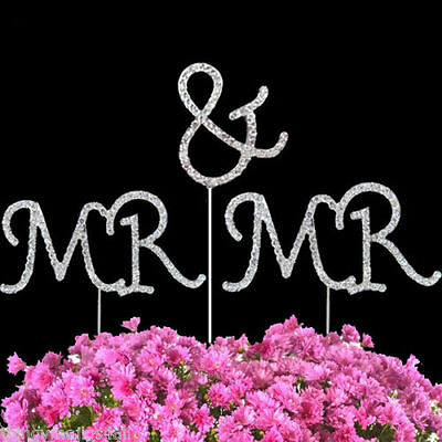 Gay MR & MR Cake Topper- Diamante Crystal Rhinestone Civil Wedding 3 Picks 14cm