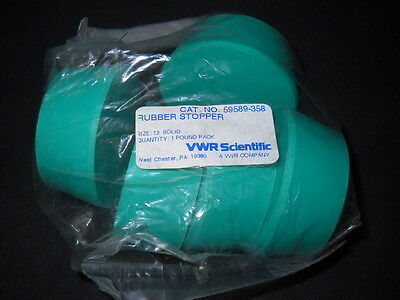 Bag of (5) VWR #12 Green Solid Neoprene Stoppers, 54-64mm O.D., 59589-358