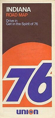1970 UNION 76 OIL Road Map INDIANA Hammond Evansville Fort Wayne South Bend Gary