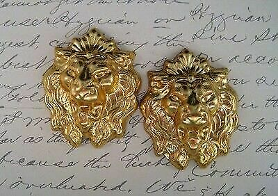 Large Raw Brass Lion Head Stamping (2) - RAT107 Jewelry Finding