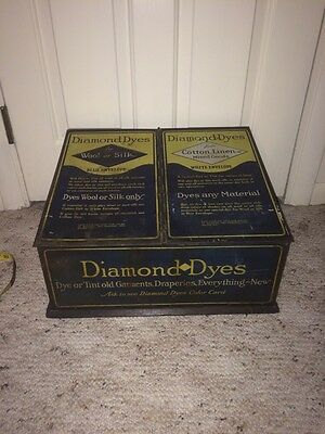 Very Rare Antique Diamond Dyes General Store Display Cabinet With COLOR CARDS!