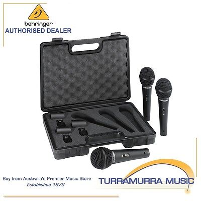 Behringer XM1800S Dynamic Cardioid Vocal Mic 3 pack in Hard Case