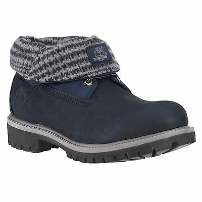 TIMBERLAND 6836A MEN'S NAVY PLAID ROLL TOP BOOTS