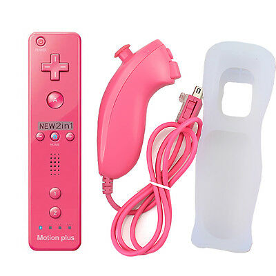 Pink Built in Motion Plus Inside Remote + Nunchuck Controller For Nintendo Wii