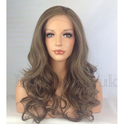 Medium Brown Heat Resistant Long Womens Ladies Wavy Lace Front Hair Wig  Kw31