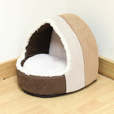 Pet Cat/Kitten Soft Brown Plush Igloo Bed Warm Cave/House/Mat/Snug Dog/Puppy