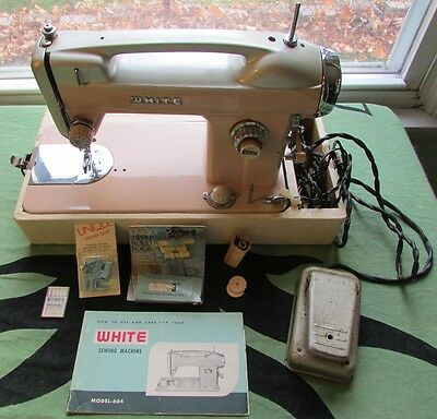 WHITE-Sewing Machine Model-664 With Manual & Accessories