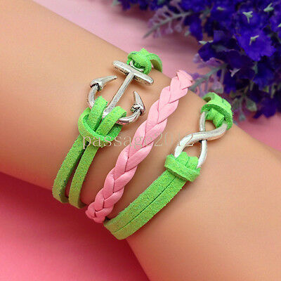 NEW DIY Infinity Anchors 2 colors Leather Cute Charm Bracelet plated Silver A94