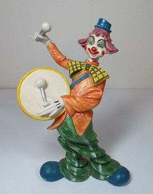 Vintage Molded Circus Clown Beating Playing Drum Figurine Statuette Made Italy