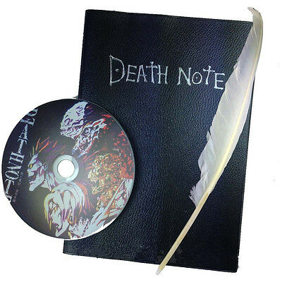 Cosplay DEATH NOTE YagamiLight Killer Quill Pen + PU Leather Notebook Book + CD