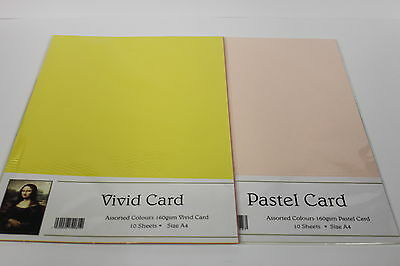 A4 160gsm 'PASTEL OR VIVID' ASSORTED COLOURED CARD. 10 SMOOTH SHEETS PER PACK.