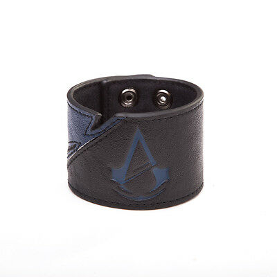 Official Assassins Creed Unity Symbol Blue And Black  Popper Cuff Bracelet *new*