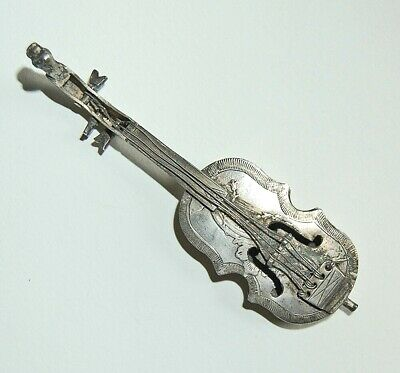 Antique Continental Silver MINIATURE VIOLIN - Village & Horse Scene       (4V11)