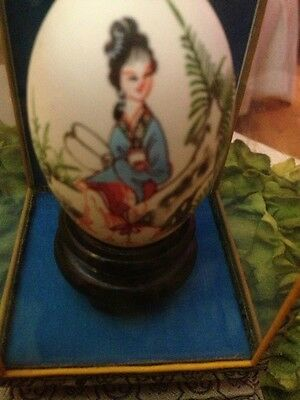 Antique Asian Hand Painted Egg In Glass Case Beautiful One Of A Kind