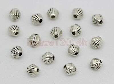 100/200/400pc Tibet Silver prismatic Charm Spacer Beads Fit Jewelry Making 4x4mm