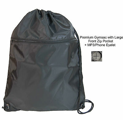 1 LARGE BLACK PREMIUM SENIOR GYMSAC WITH FRONT ZIP POCKET 49 x 40 cms