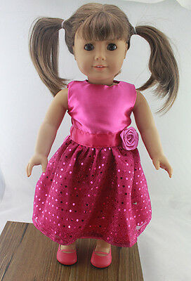 """New Dolls clothes pink Wedding dress for 18"""" American Girl Doll/girl present b47"""