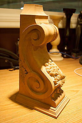 Antique American Cherry Wood Artisan Carved Corbel