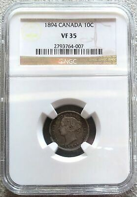 1894 Silver Canada 10 Cents Queen Victoria Coinage Ngc Very Fine 35
