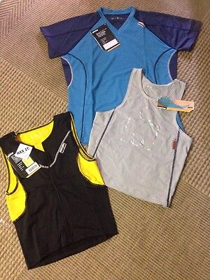 Triathlon Cycle Swim Run Ironman MENS Tri Top PACK 3 Tops Medium Nwt