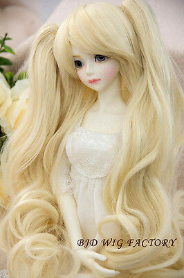 """BJD Doll Hair Wig 8-9"""" 1/3 SD DZ DOD LUTS Blonde with ponytails"""