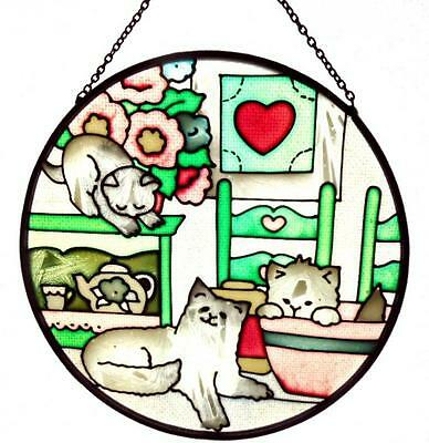 Cats Stained Glass Suncatcher Country Kitties Flowers Round Kittens