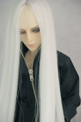"""8-9""""1/3 BJD Doll Hair Wig SD DZ DOD LUTS Pure White Long Parted In The Middle"""