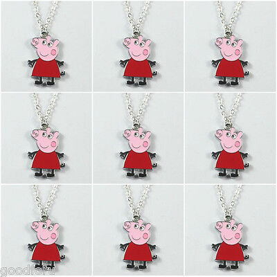 Bulk 9pcs Cute Red Pig Sister Pendant Necklace Birhtday Party Boys Girls Gifts