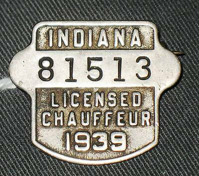 Indiana Registered Chauffeur Badge 1939
