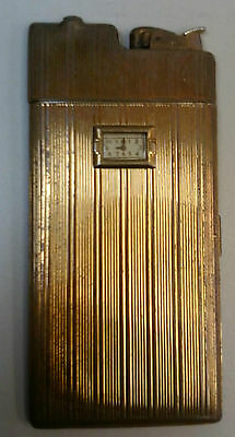Vintage Evans Cigarette Lighter Case with Watch/Clock Combo