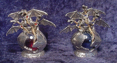 Pewter DRAGONS in EGG w/ Colorful Glass Orb and Crystals - Color Choice!