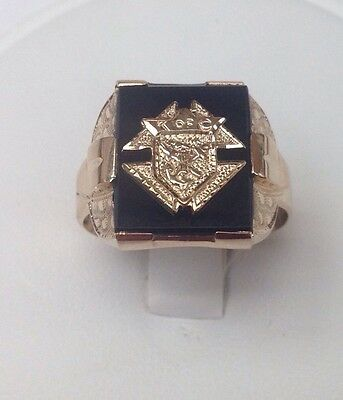 10K Yellow Gold Knights Of Columbus Black Onyx Ring Size 10.5