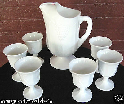 Indiana Colony Milk Glass Opaque White Harvest Grape Footed Pitcher & 6 Goblets