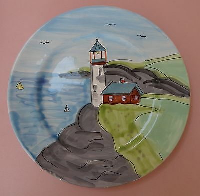AMERICAN LIGHTHOUSE PLATE Art Pottery NAIVE PAINT New Hampshire FOLIAGE FESTIVAL